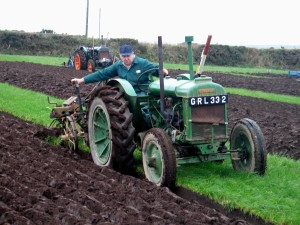 Tractor ploughing in action